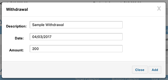 click add to save the withdrawal once thatu0027s complete youu0027ll see the total withdrawals and balance update accordingly on the deal syndication page