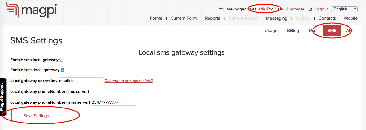 Interactive SMS Local Gateway Setup : Magpi Support