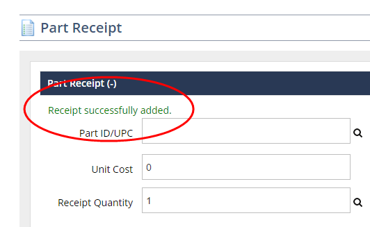 receiving inventory using parts receipts help center