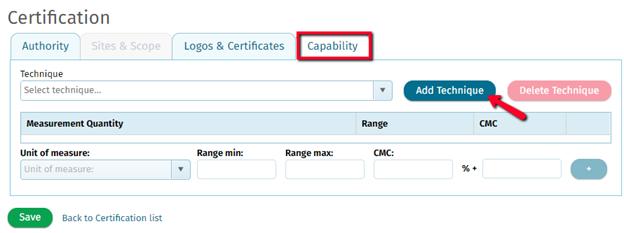 Manage Calibration Measurement Capability (CMC) Values ...