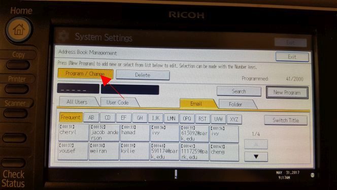 Adding Email Address in Ricoh MFD for Scan-to-Email