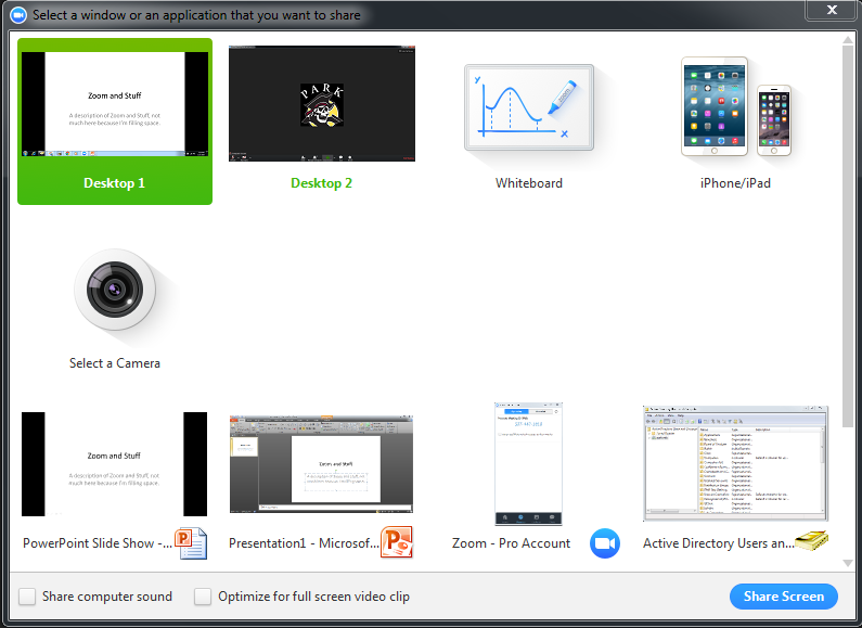 Zoom Share Screen for PowerPoint : Information Technology