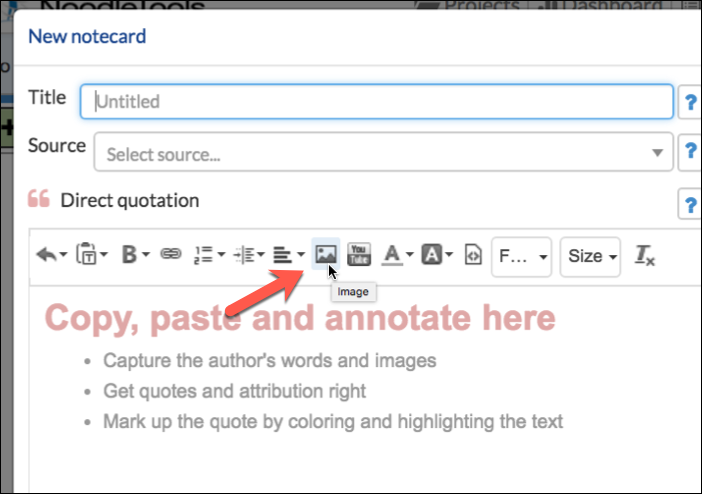 How To Insert An Image In A Notecard Noodletools Help Desk