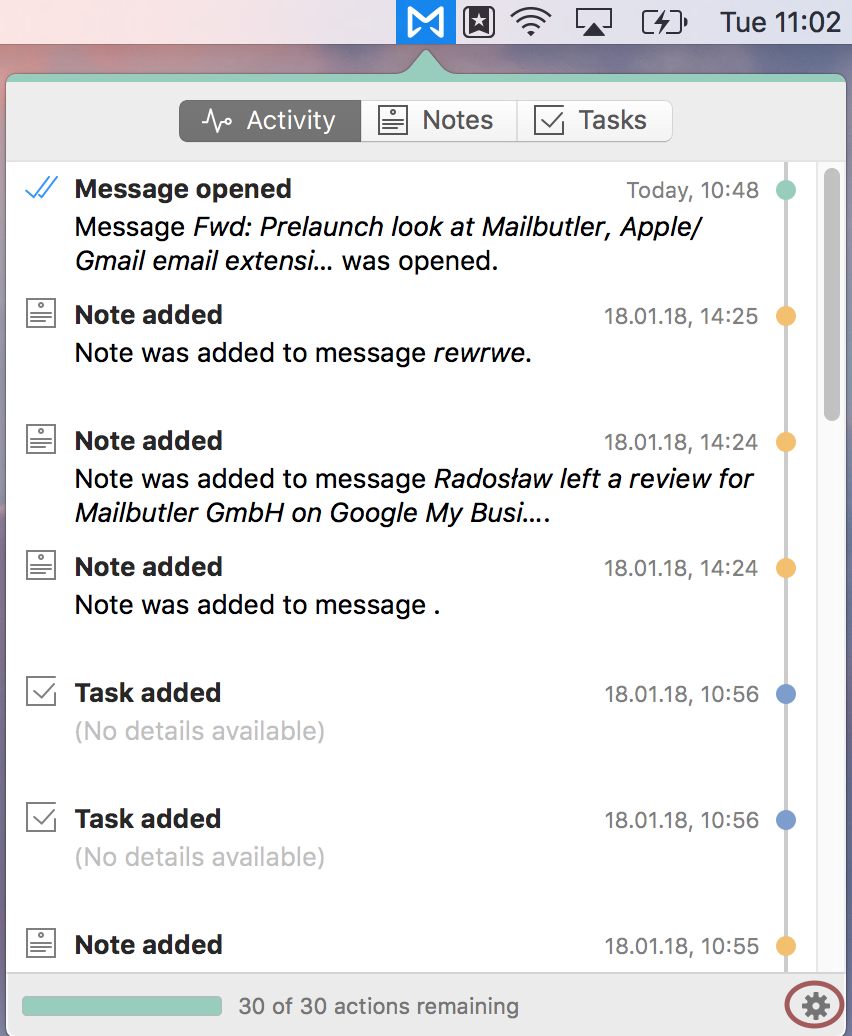Screenshot of Mailbutler activity tab in Mail tab
