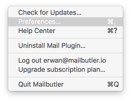 Screenshot of Mailbutler preferences tab