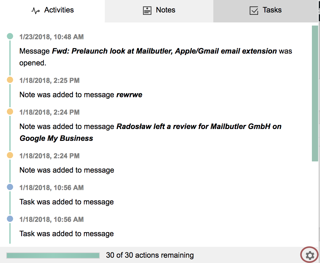 Screenshot of Mailbutler activities in chrome