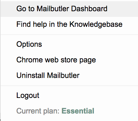 Screenshot of Mailbutler options in Gmail