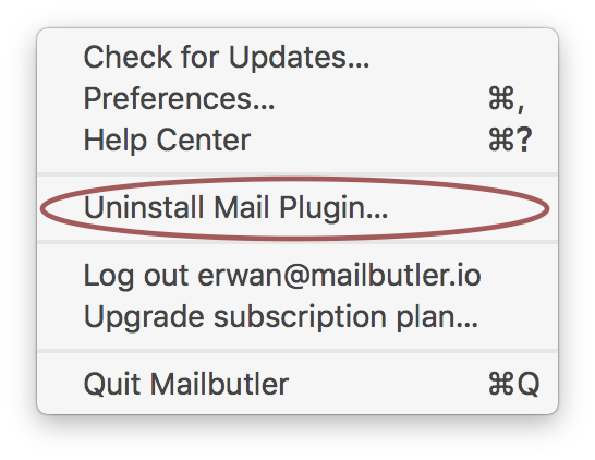 Screenshot of Mailbutler uninstall link in Apple mail