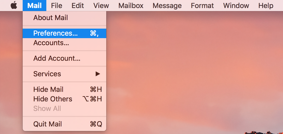 Screenshot of preferences in Apple mail