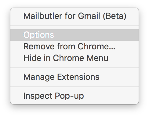 Screenshot of Mailbutler options tab in chrome