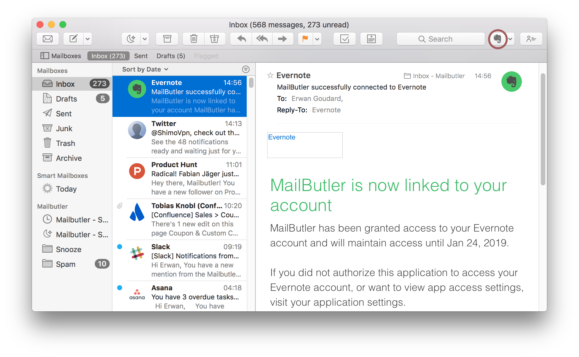 How do I use the Mailbutler Evernote Exporter plugin