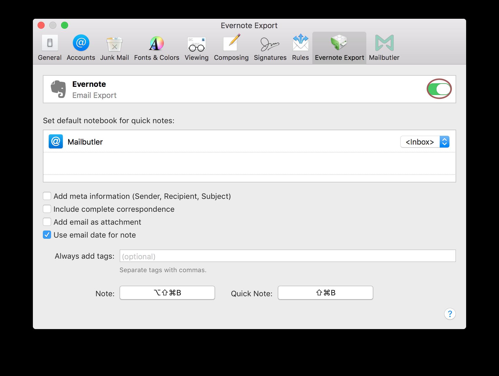 How do I use the Mailbutler Evernote Exporter plugin?   Mailbutler