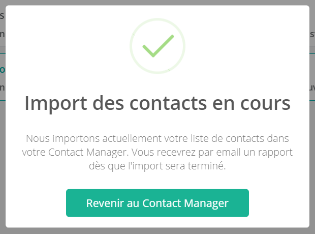 Import des contacts en cours