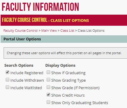 Course Control Class List : Information Technology Services