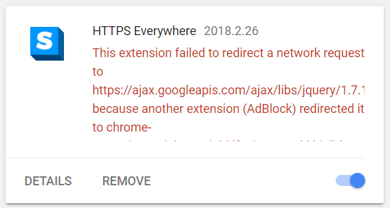 HTTPS Everywhere error (Chrome 65 and later)
