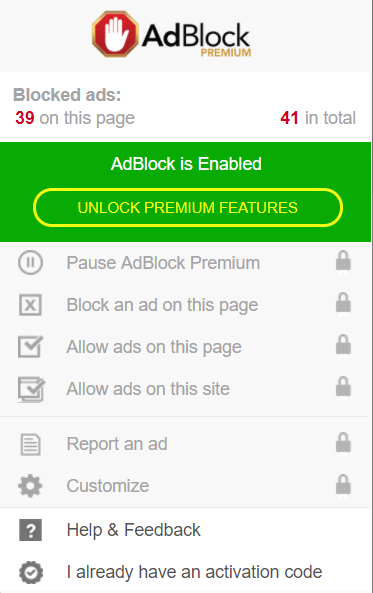 Upgrade to the paid version of AdBlock Premium to unlock additional features