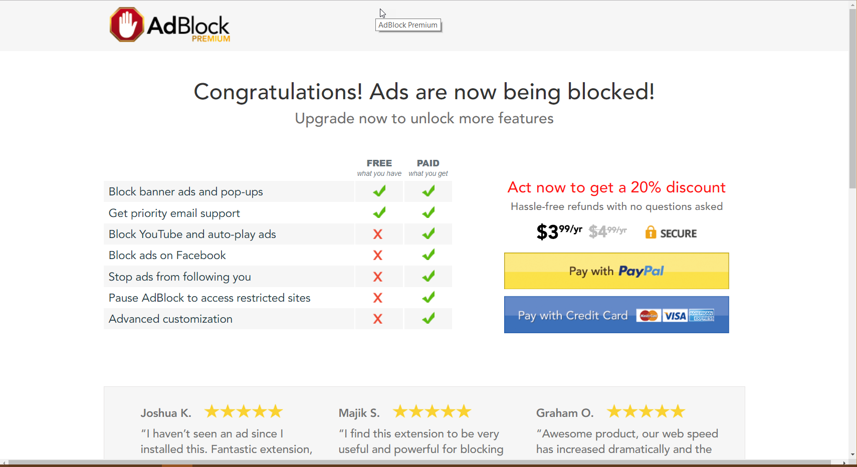 Paying for AdBlock Premium at the time of installation