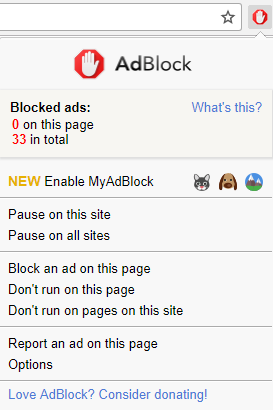 MyAdBlock menu before activation