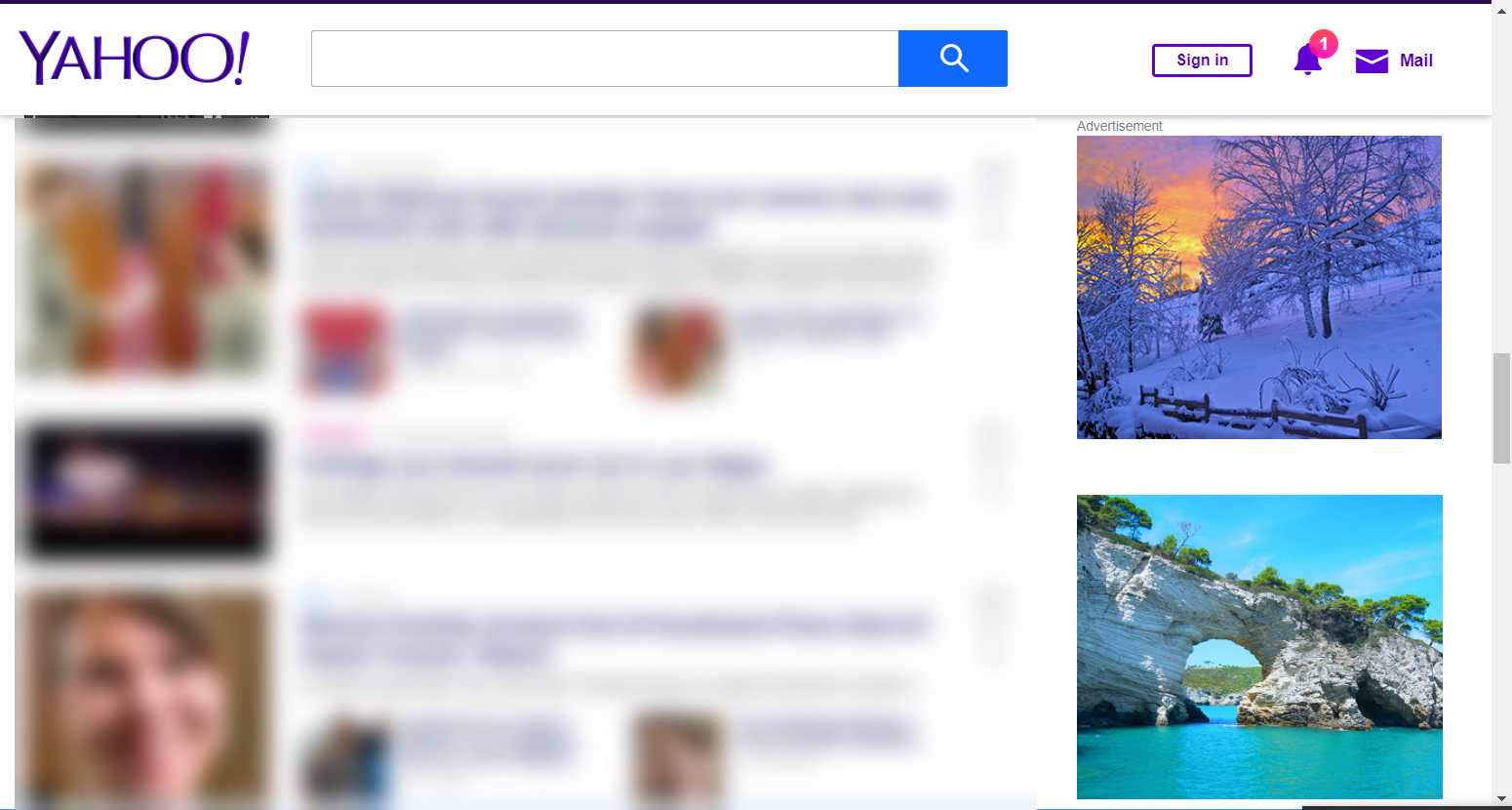 An example of ads replaced with pictures on Yahoo.com