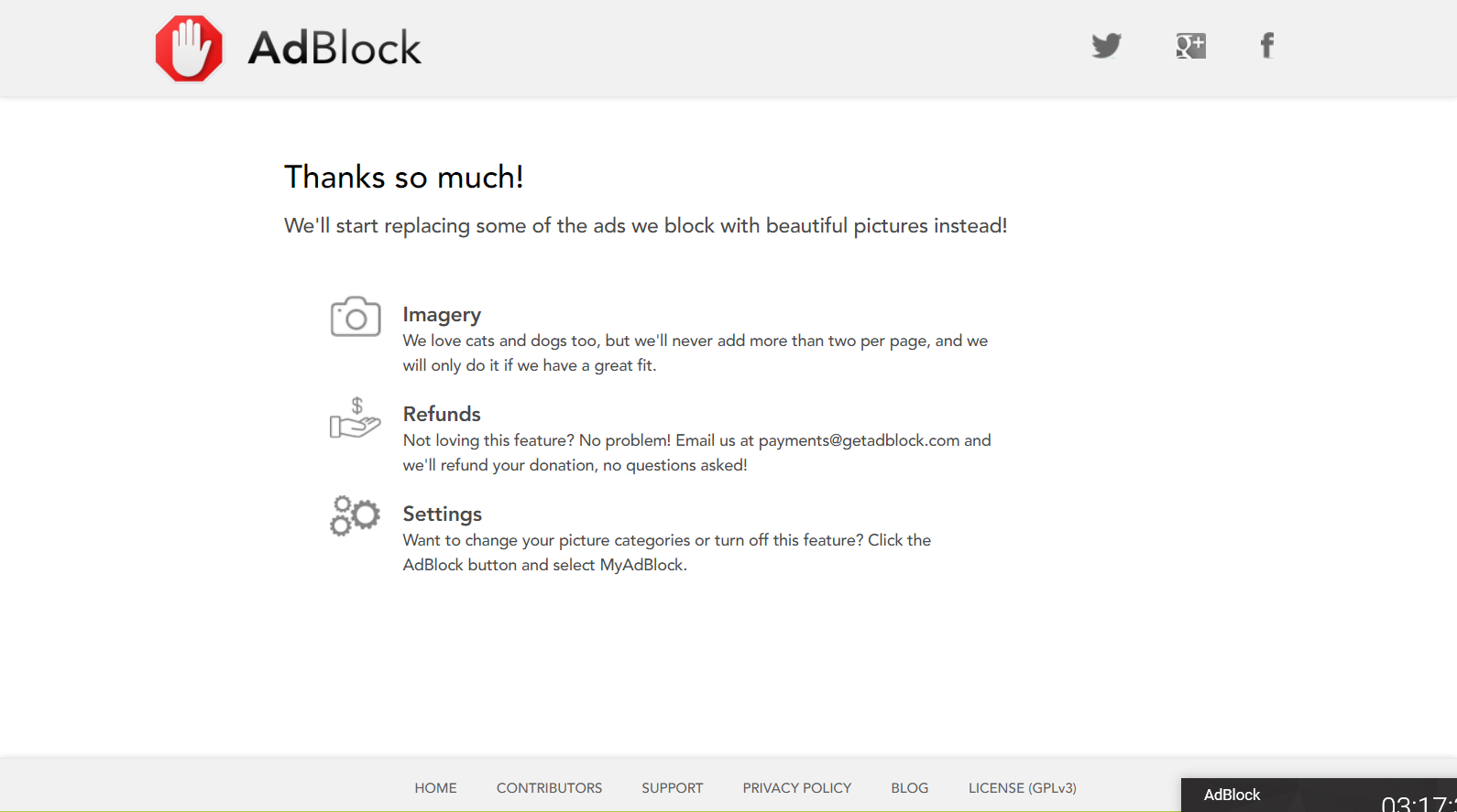 MyAdBlock thank-you page