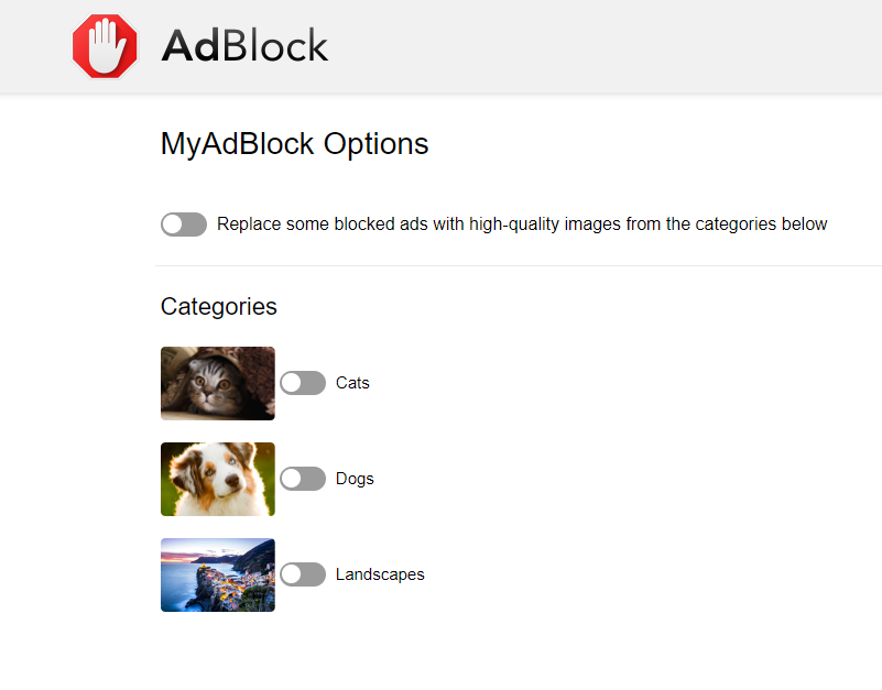 All picture categories deselected turns MyAdBlock off