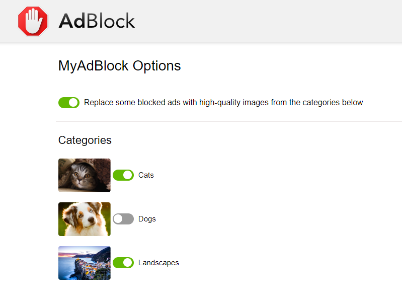 Changing your selected picture categories in MyAdBlock's options