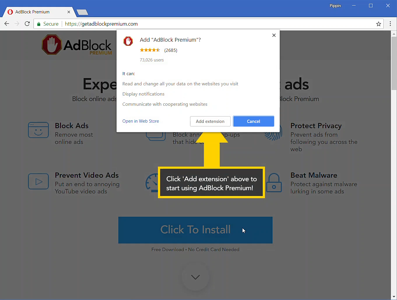 Adding AdBlock Premium to Chrome