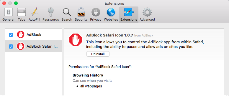 Enabling AdBlock extensions in the Safari Extensions preferences window