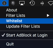 Whitelisting a site using the AdBlock app button in the MacOS menu bar