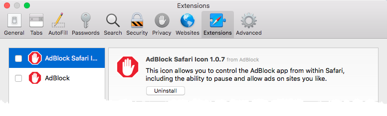 Disabling AdBlock in Safari Extensions preferences