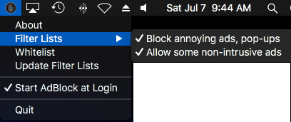 Blocking non-intrusive ads using the AdBlock app button in the MacOS menu bar