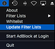 Updating filter lists using AdBlock app button in the MacOS menu bar