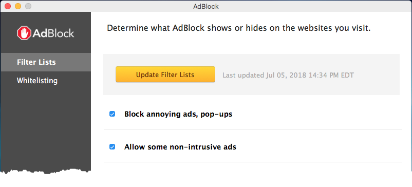 Updating filter lists in the AdBlock app