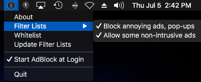 AdBlock app menu on the MacOS menu bar