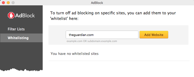 Whitelisting a site in the AdBlock app