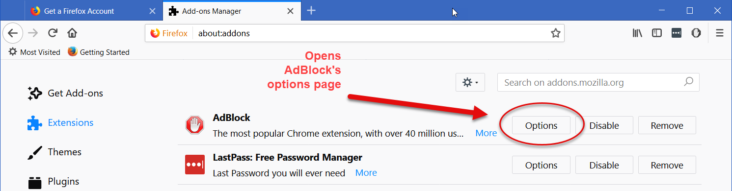 Opening AdBlock's options through Firefox's extensions page