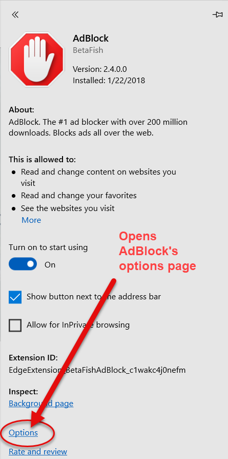 Opening AdBlock's options through Microsoft Edge's extensions menu