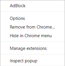 AdBlock menu on Chrome's New Tab page (right-click)