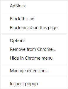 AdBlock menu on Chrome's New Tab page (right-click, advanced mode)
