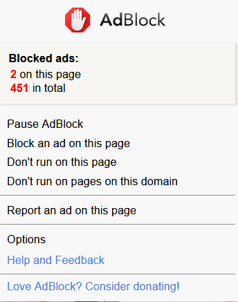 AdBlock menu in Firefox
