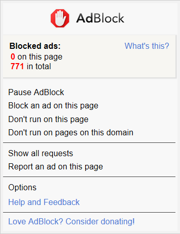 AdBlock menu in Microsoft Edge (New Tab page; advanced mode)