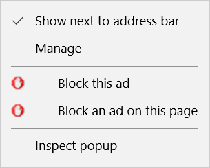 AdBlock menu in Microsoft Edge (New Tab)