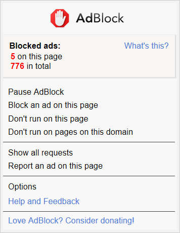 AdBlock menu in Microsoft Edge (advanced mode)