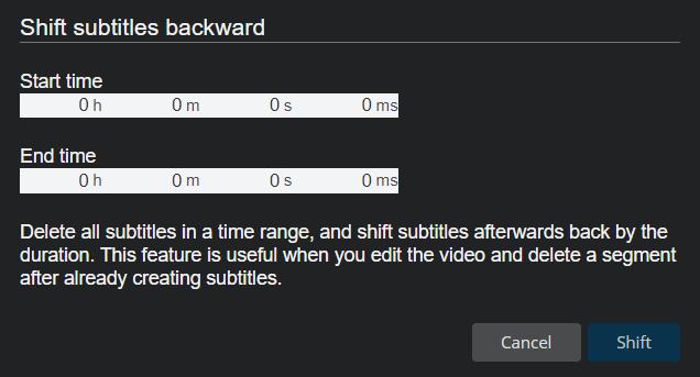 Shift subtitles backward popup box.