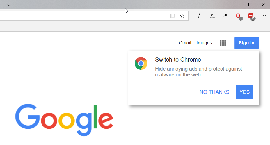 "The annoying ""Switch to Chrome"" notification"