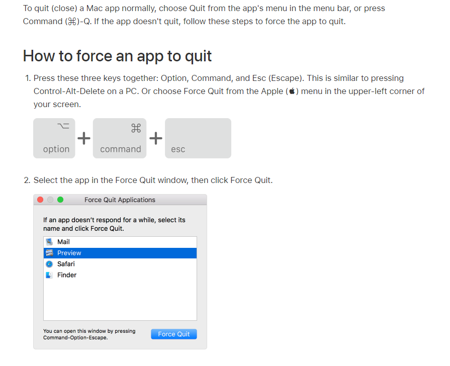 To force a Mac app to quit, press Option+Commnd+Esc and select the app in the Force Quit window.