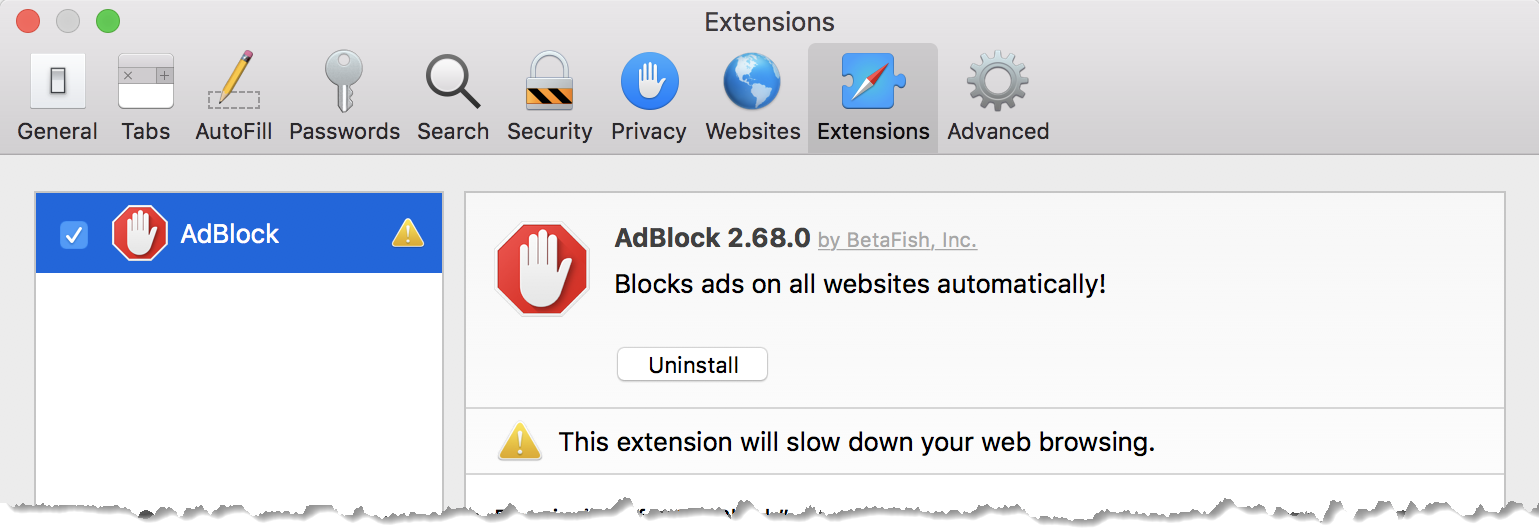 AdBlock is re-enabled.