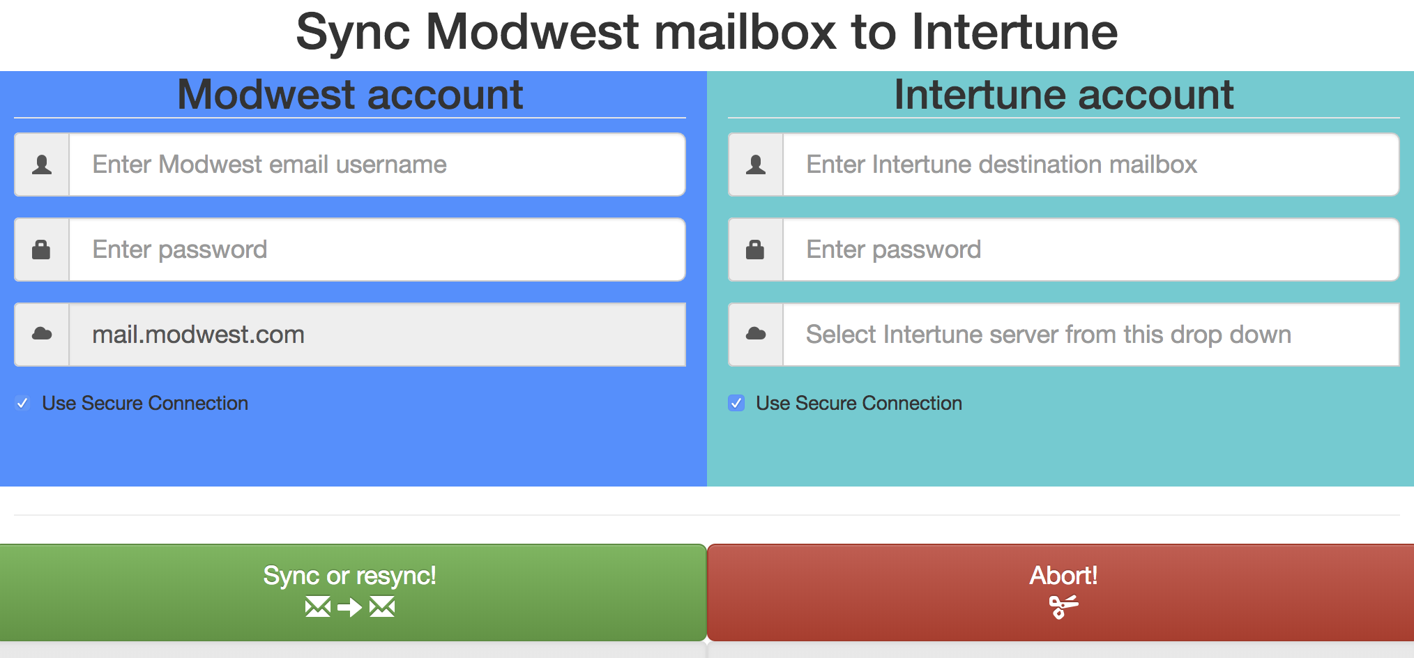 How do I sync my old email from Modwest to Intertune