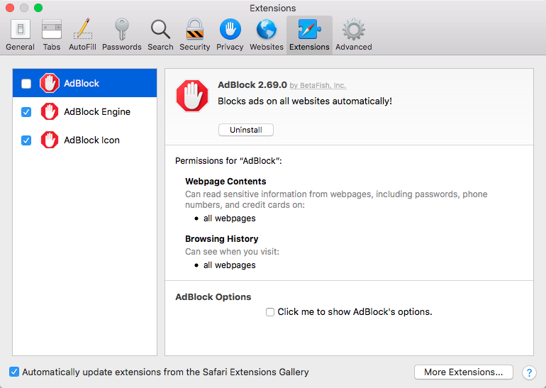 AdBlock app extensions enabled and legacy extension disabled in Safari Extensions Preferences