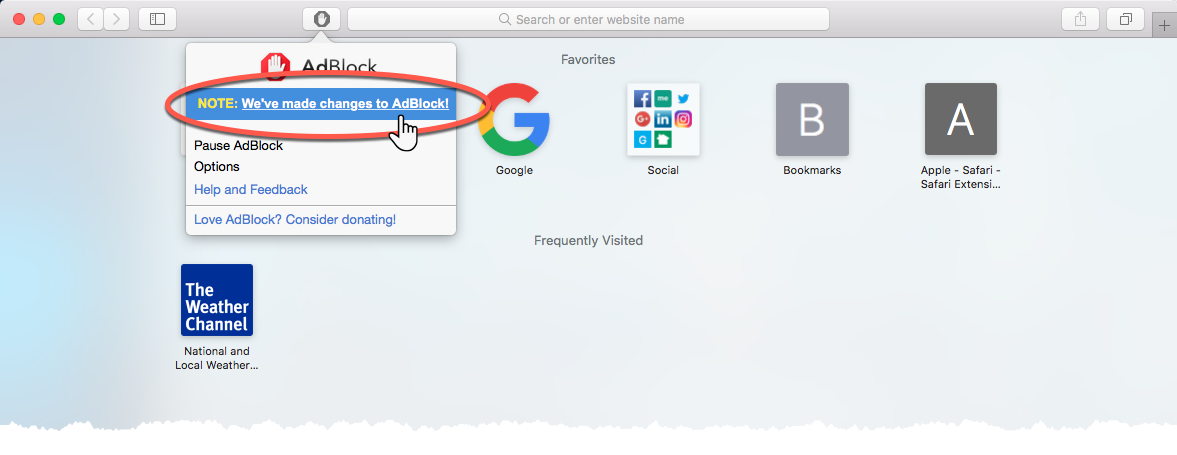 Notice on the AdBlock menu after the September Safari 12 update